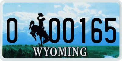 WY license plate 000165