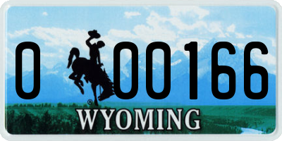 WY license plate 000166