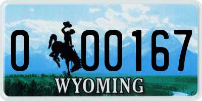 WY license plate 000167