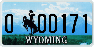 WY license plate 000171