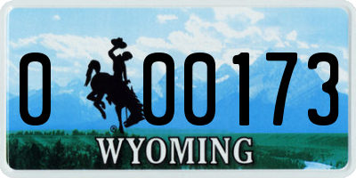 WY license plate 000173