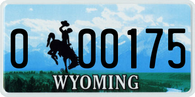 WY license plate 000175