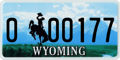 WY license plate 000177