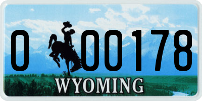 WY license plate 000178