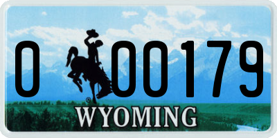 WY license plate 000179