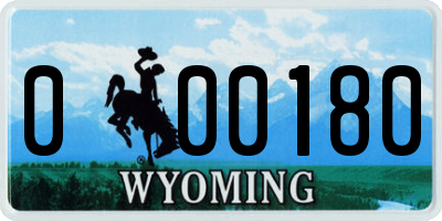 WY license plate 000180