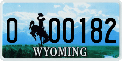 WY license plate 000182