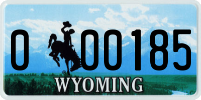 WY license plate 000185