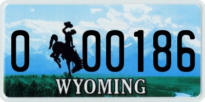 WY license plate 000186