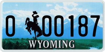 WY license plate 000187
