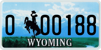 WY license plate 000188