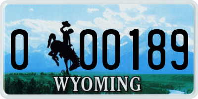 WY license plate 000189