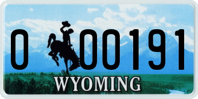 WY license plate 000191