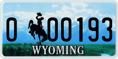 WY license plate 000193