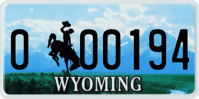 WY license plate 000194