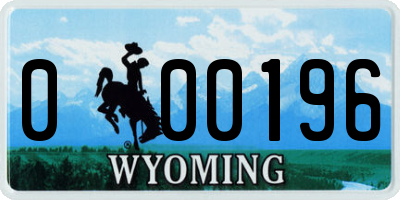 WY license plate 000196