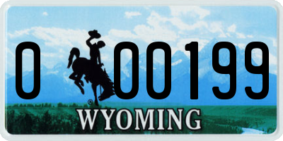 WY license plate 000199