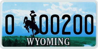 WY license plate 000200