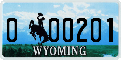 WY license plate 000201