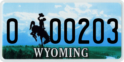 WY license plate 000203