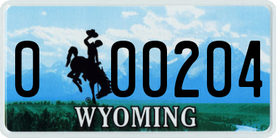 WY license plate 000204