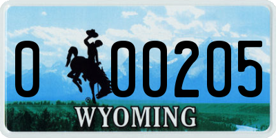 WY license plate 000205