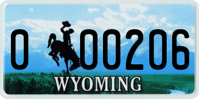 WY license plate 000206
