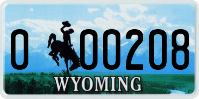WY license plate 000208
