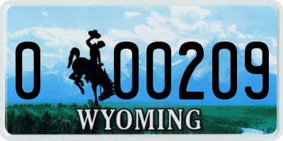 WY license plate 000209