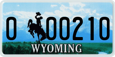 WY license plate 000210