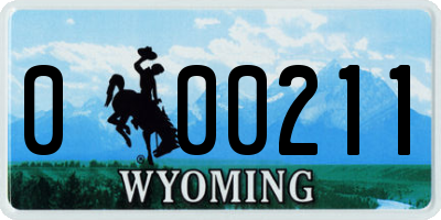 WY license plate 000211