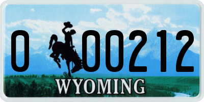 WY license plate 000212