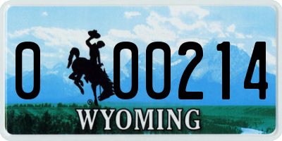 WY license plate 000214