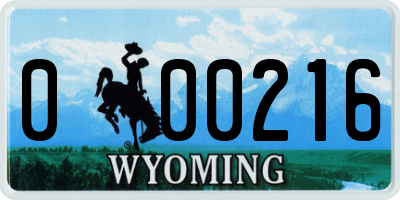 WY license plate 000216