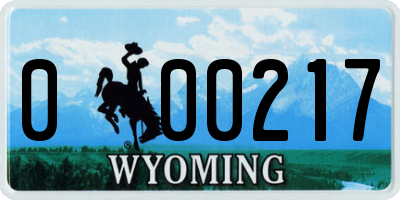 WY license plate 000217