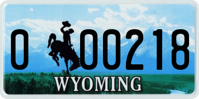 WY license plate 000218