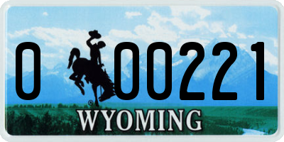 WY license plate 000221