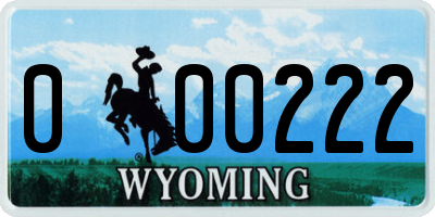 WY license plate 000222