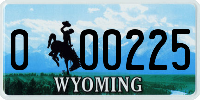 WY license plate 000225