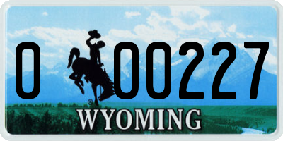 WY license plate 000227