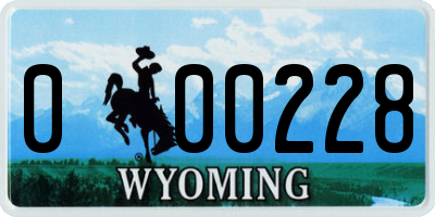 WY license plate 000228