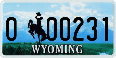 WY license plate 000231