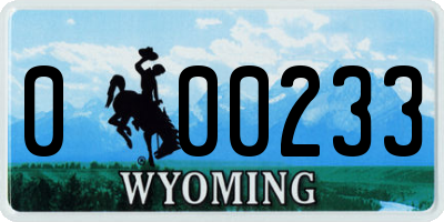 WY license plate 000233