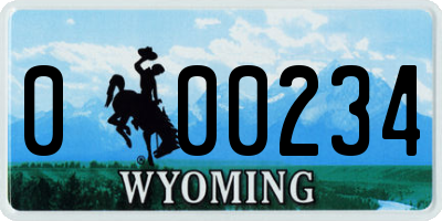 WY license plate 000234