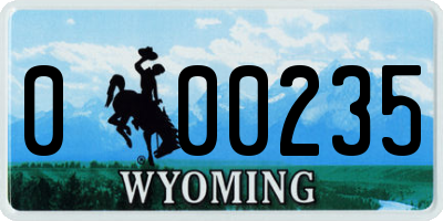 WY license plate 000235
