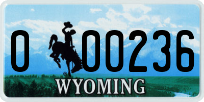 WY license plate 000236
