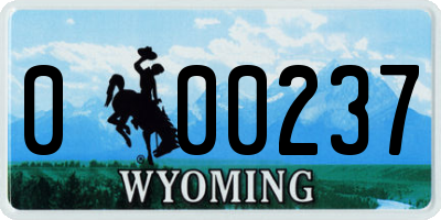 WY license plate 000237