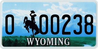 WY license plate 000238