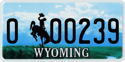 WY license plate 000239