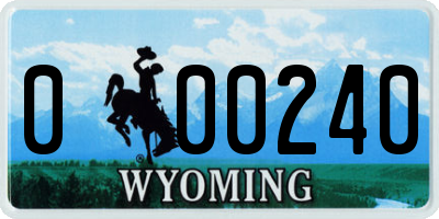 WY license plate 000240